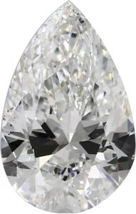 Bow tie evident in this Pear Cut Diamond