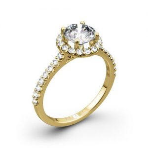 18kt Ritani Halo Engagement Ring